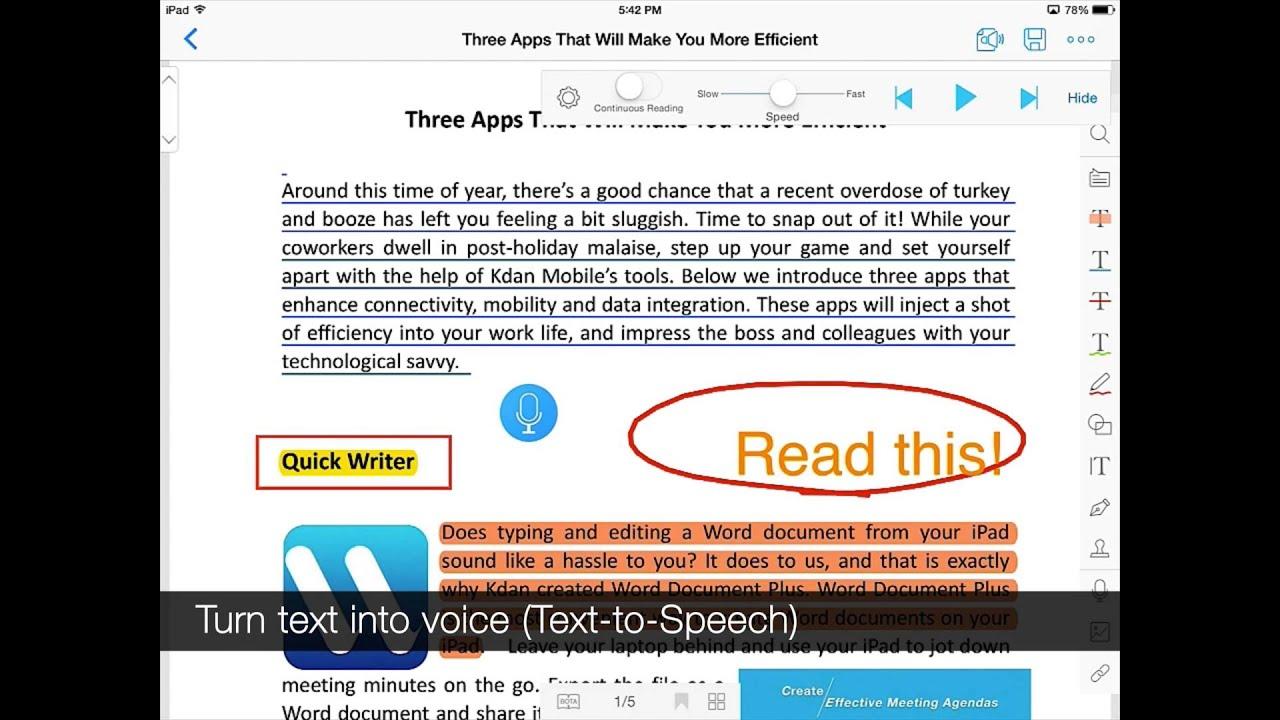 Pdf Reader 6 Ipad Tutorial  Annotation, Audio Notes, Doc Scanner, Voice  Reader (texttospeech)