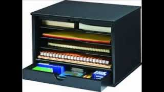 Victor Wood Midnight Black Collection, 4 Shelf Desktop Organizer