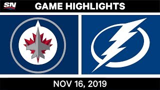 NHL Highlights | Jets vs Lightning - Nov. 16, 2019