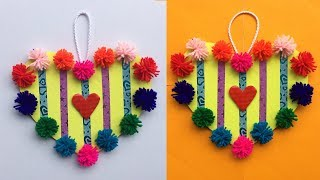 DIY Wall Hanging out of Waste Paper and Waste Wool | Heart Wall Hanging Craft Idea
