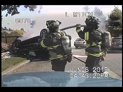 """Officer John Paquette Jr, Seattle Police Chase, crash, """"I will shoot you,"""" and fire"""