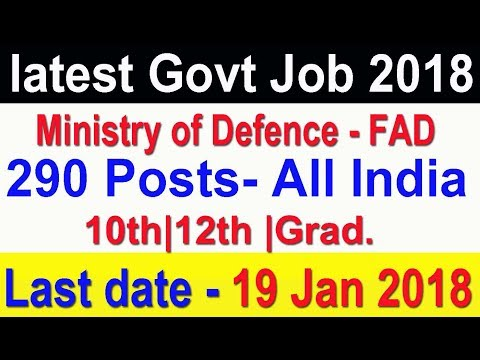 Latest Govt Job 10th Pass | FAD Ministry of Defence, All India Vacancy Apply Now