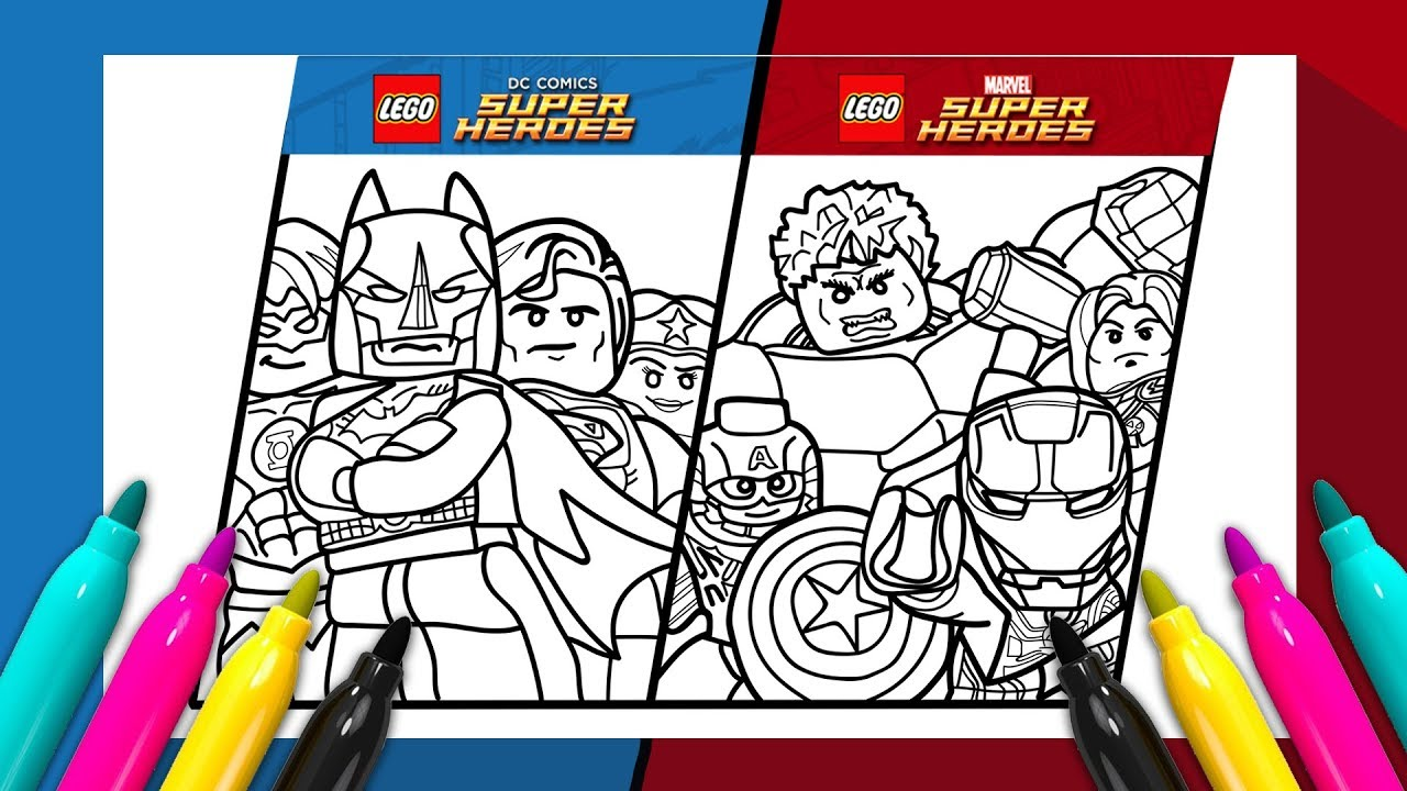 LEGO SUPER HEROES Coloring page | MARVEL vs DC COMICS - YouTube