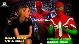 AMAZING SPIDER-MAN 2 Emma Stone & Garfield & Rhys Ifan meet ITALIAN SPIDER-MAN