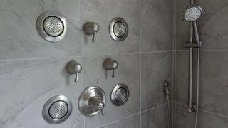 (part-1) MOEN TS276 Custom vertical SPA shower system installation, sprayers, hand held 3/4