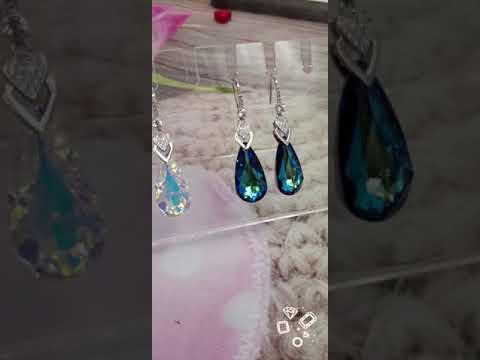Серьги родированные с кристаллами Сваровски в интернет-магазине Jewel-classic.ru