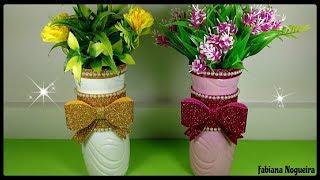 IDEIA com Garrafa Pet Dia das mães – Vasinhos decorados