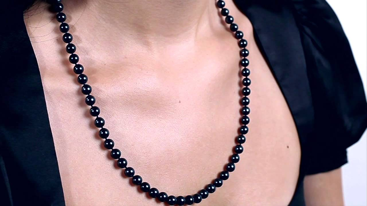 6e29a9d308f3eb Black Akoya Pearl Necklace 6.5-7.0mm by Pure Pearls - YouTube