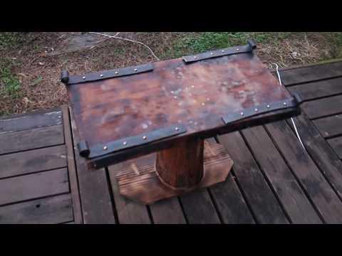 DIY Furniture Table with Blacksmith trim