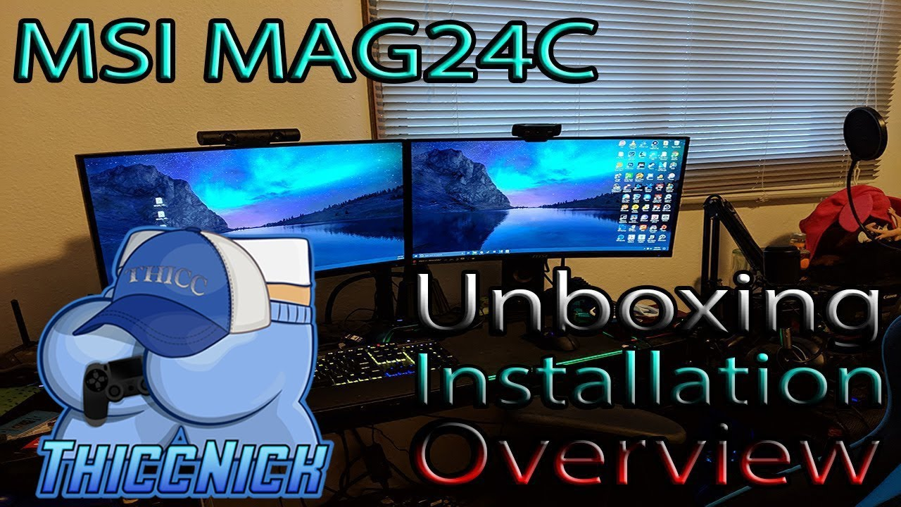 MSI MAG24c Curved Gaming Monitors UNBOXING + Installation + OVERVIEW