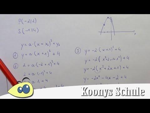 Parabel aus Punkt und Scheitelpunkt bestimmen, Beispiel, Funktionsgleichung, quadratisch from YouTube · Duration:  5 minutes
