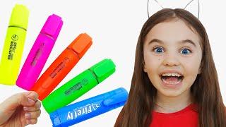 색칠공부를 하면 색을 배워? Magic Pen Learn Color with Polina |인기동요, 어린이 교육