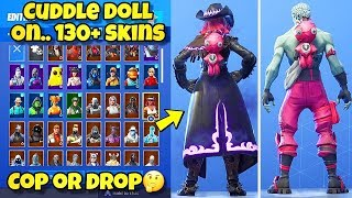 """NEW """"CUDDLE DOLL"""" BACK BLING Showcased With 130+ SKINS! Fortnite Battle Royale (CUDDLE DOLL COMBOS)"""
