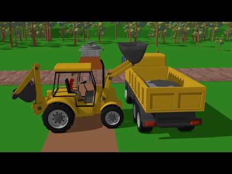 .Red Tractor and Yellow Charger - Construction of the lift | Vehicles for Babies and Kids - Koparka