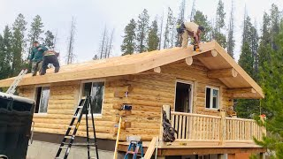 18x24 Amish Log Cabin Being Built in 3-1/2 Days
