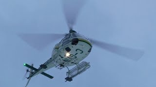 Eurocopter AS350 Ecureuil flying in Extreme Winter Weather.