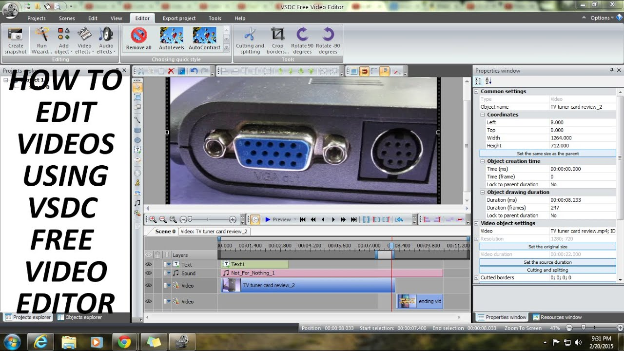 Vsdc Video Editor Tutorial(how To Edit Videos For Youtube For Free) 2015