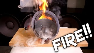 BLOWING VINTAGE SONY SPEAKERS!! (GONE WRONG, CAUGHT FIRE!)