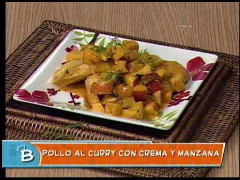 Pollo al curry con crema y manzana