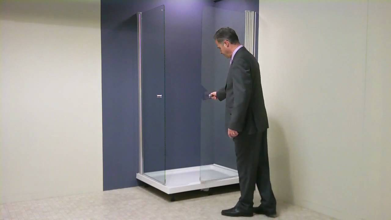 UniLine walk in swing shower enclosure and 1200x900 tray.mp4 - YouTube