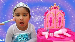 Ishfi Getting dressed as Princess for birthday party