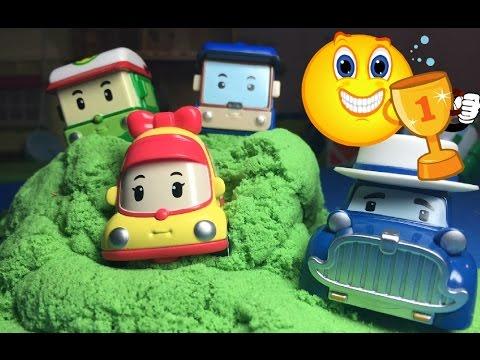 Герои Робокар Поли катаются с горы мультик про машинки Heroes Robocar Poli ride the mountain cartoon