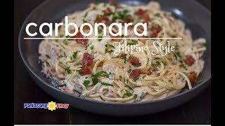 Filipino Style Creamy Bacon and Mushroom Carbonara