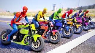 Spiderman And Motorcycles Challenge With Racing Moto Bikes Amazing Spiderman,homem-aranha 2099-GTA 5