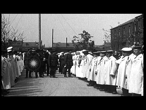 King George V and Queen Mary with officials visit with subjects in Northern Engla...HD Stock Footage