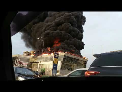 Пожар в Кемерово горит автосалон Сибинпекс Opel Hyundai