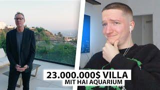 Justin reagiert auf 23.000.000$ Villa mit Haifisch Becken.. | Reaktion