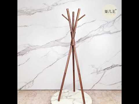 全實木 白臘木 衣帽架 樹木造型 胡桃色