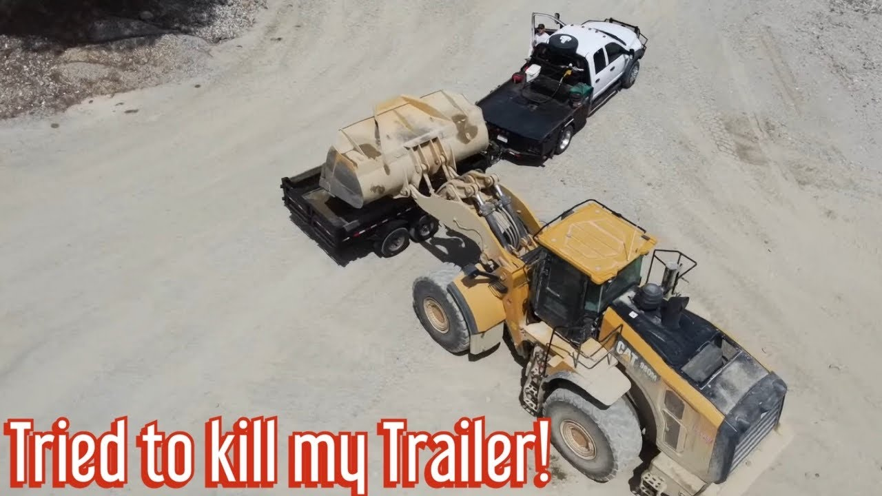 One scoop and it's OVERLOADED! Hauling loads of sand in dump trailer