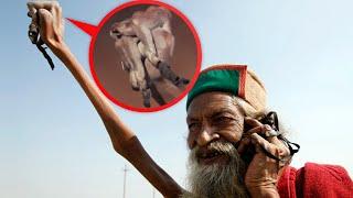Seit über 43 Jahren hält er seinen Arm oben!(Der Inder Baba Amar Bharati entschied von einem Tag auf den anderen, ein hinduistischer Mönch zu werden und setzte sich das Ziel, seinen rechten Arm hoch ..., 2016-06-13T15:01:27.000Z)