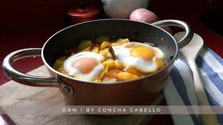 Patatas a la Riojana con Huevos Cuajados