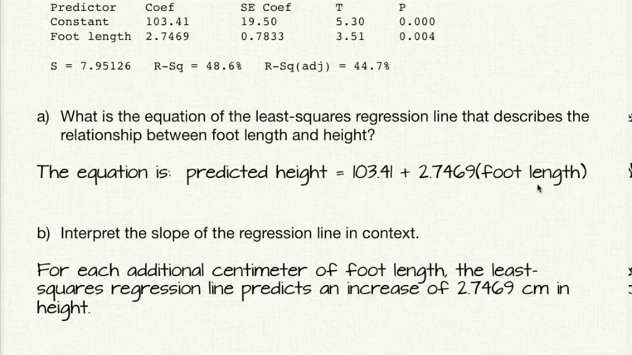 9 2 Calculating The Least Squares Regression Line From Standard Deviations