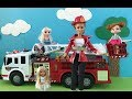Fire Truck! Elsa Anna Barbie & Chelsea Dolls Movie! Fire Engine with Water lights & Sounds!