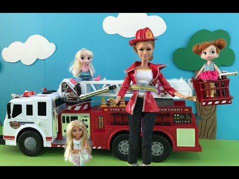 Thumbnail: Fire Truck! Elsa Anna Barbie & Chelsea Dolls Movie! Fire Engine with Water lights & Sounds!