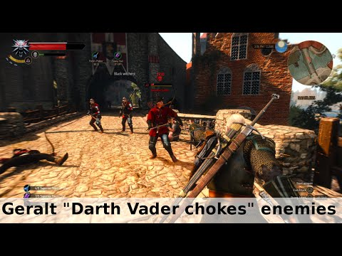 "Witcher 3 funny bug - Geralt ""Darth Vader chokes"" his enemies"