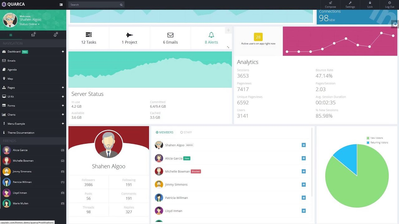 Quarca - Responsive Admin Dashboard Template - YouTube