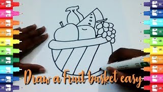 How to draw fruit basket step by step-Easy kids drawing tutorial