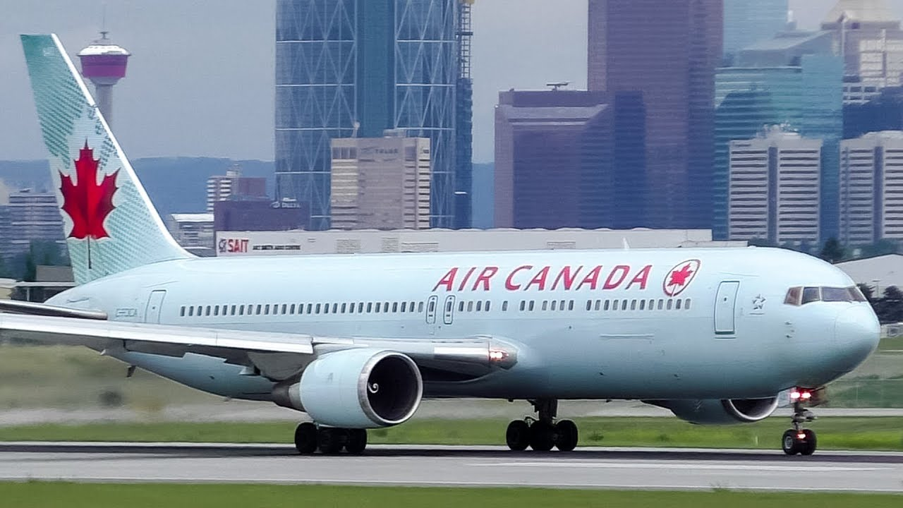 Air Canada Boeing 767-300ER Taxi and Takeoff from Calgary Airport ...