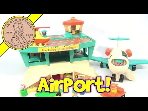 Fisher-Price Vintage Play Family Airport Playset #996 From 1972