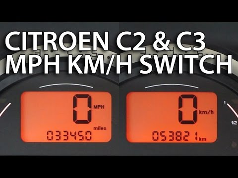 How to change Citroen C2 & C3 units between MPH and km/h (instrument cluster hidden menu)