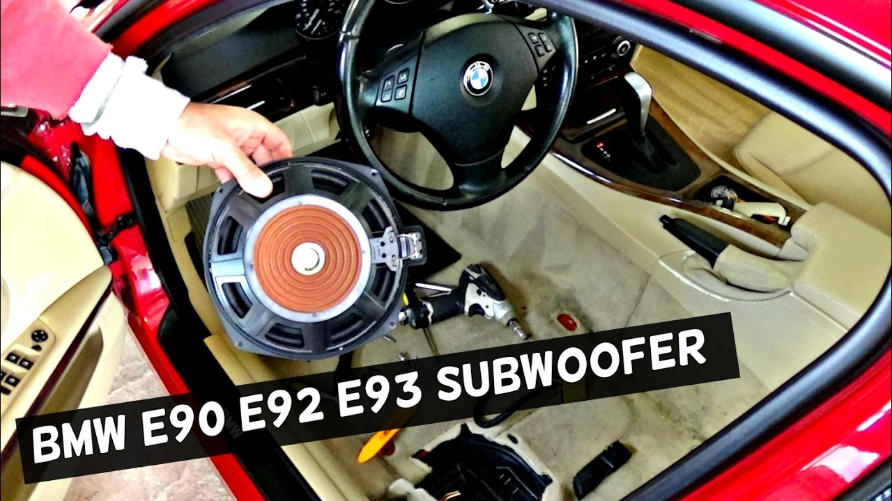 BMW E90 E92 E93 FRONT SUBWOOFER REMOVAL REPLACEMENT 2006 2007 2008 ...