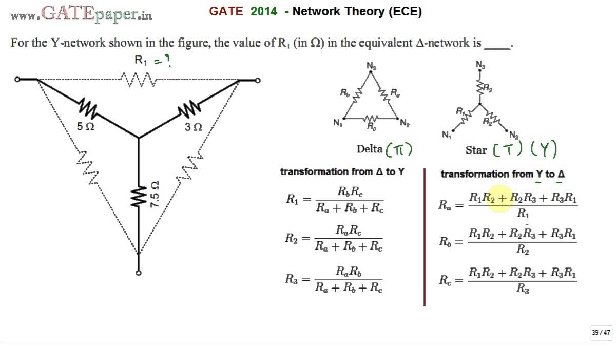 GATE 2014 ECE Star Delta conversion, the value of R1 in the equivalent  delta network