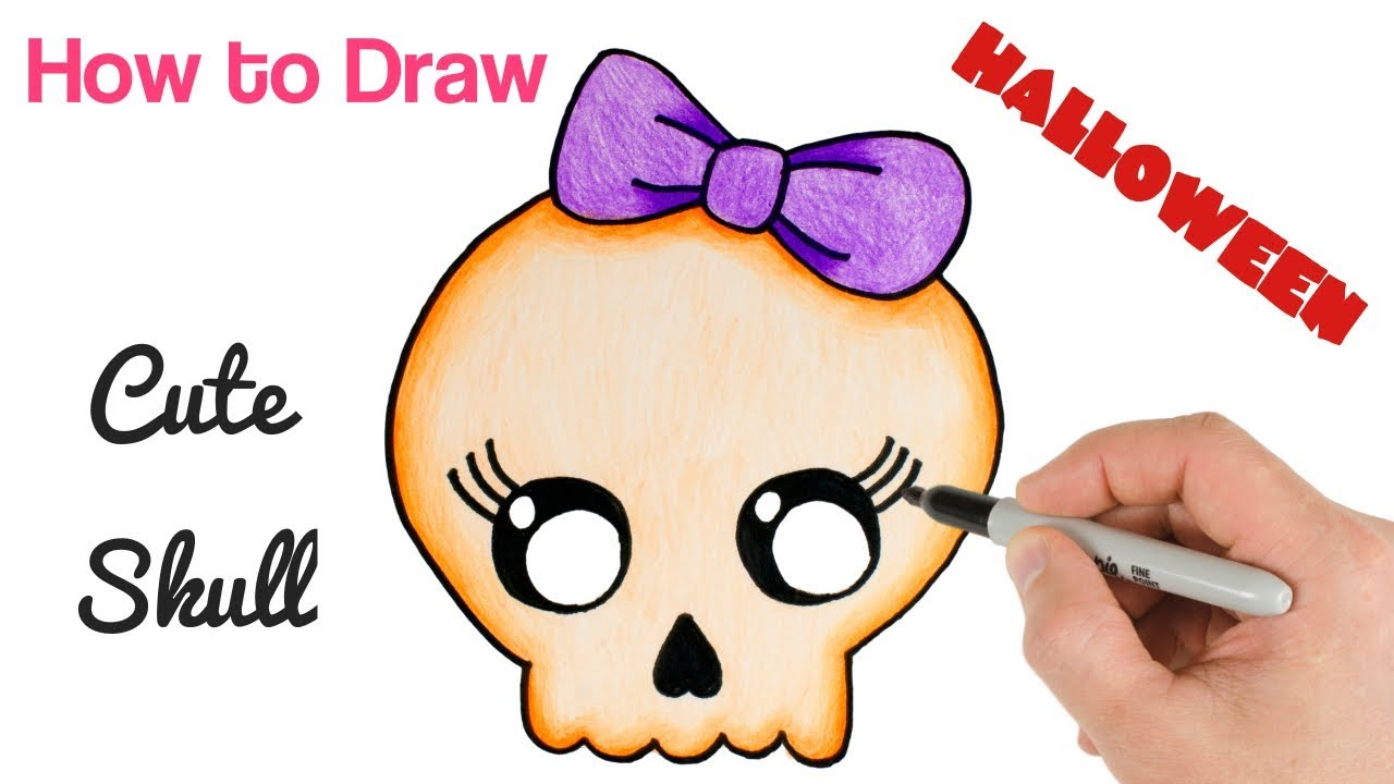 How to Draw Cute Skull Easy for Halloween Drawings