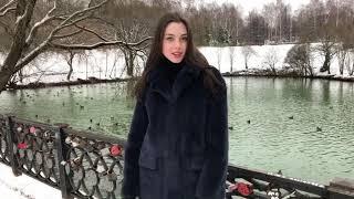 Шуба-пальто из норки синего цвета | Магазин МЕХХАУС
