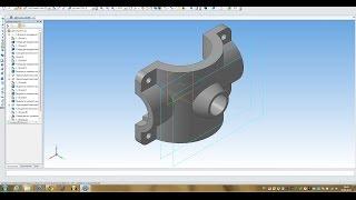 Компас 3D уроки - пример построения простой детали № 1