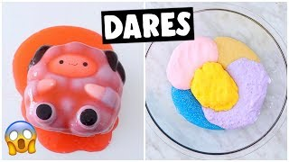 EXTREME SLIME & SQUISHY DARES?! *making marshmallow fluff slime*